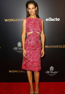 Katie Holmes Wears Pink To 'Woman In Gold' Premiere