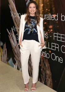 Olivia Wilde Attends The Conscious Pop-Up Shop Opening In H&M Suit