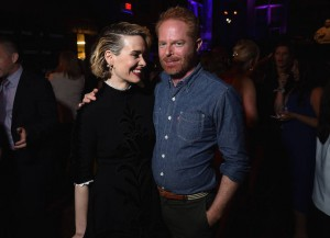 Sarah Paulson & Jesse Tyler Ferguson Hang Out At New York Upfronts