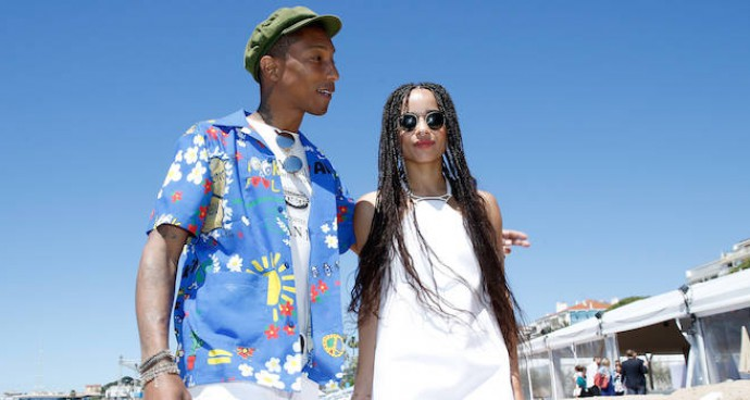 Pharrell Williams & Zoe Kravitz Hit The Beach For 'Dope' Photocall At Cannes