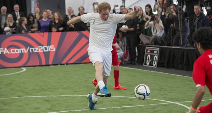 Prince Harry Plays Soccer In New Zealand