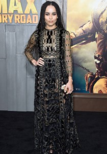 Zoe Kravitz Rocks Black & Gold Gown For 'Mad Max: Fury Road' Premiere