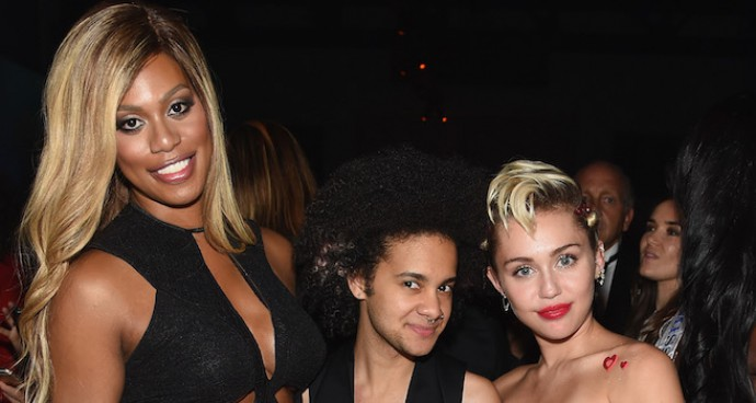 Laverne Cox, Tyler Ford & Miley Cyrus Party At AmfAR Gala