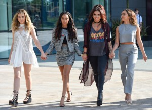 Little Mix Singers Hold Hands Arriving At BBC Breakfast Studios