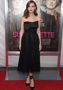 Carey Mulligan Dons All Black For 'Suffragette' Premiere