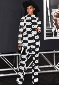 Janelle Monae Wears Monochrome Ensemble To 'Creed' Premiere