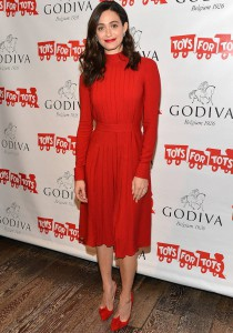 Emmy Rossum Looks Festive In Red At Toys For Tots Event