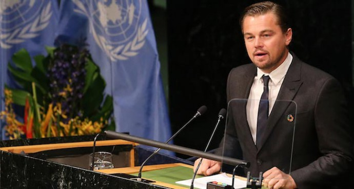 Leonardo DiCaprio Speaks At The Paris Agreement For Climate Change Signing