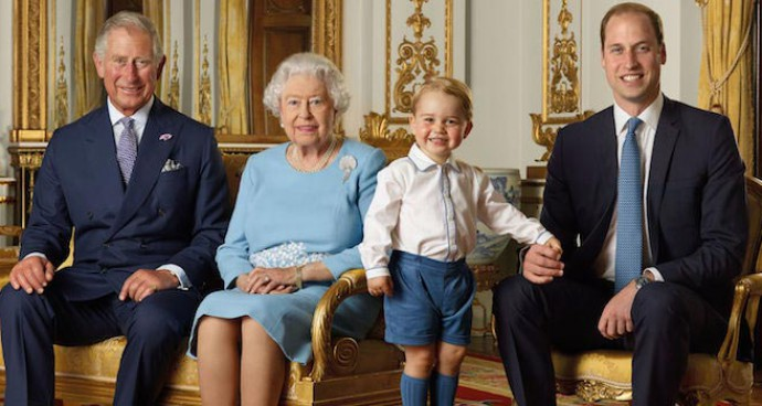 Queen Elizabeth II Poses With Heirs For Commemorative Stamp Set