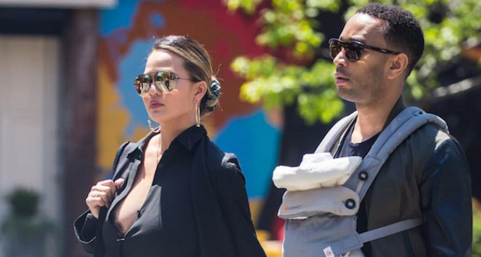 John Legend And Chrissy Teigen Take A Walk With Baby Luna In NYC