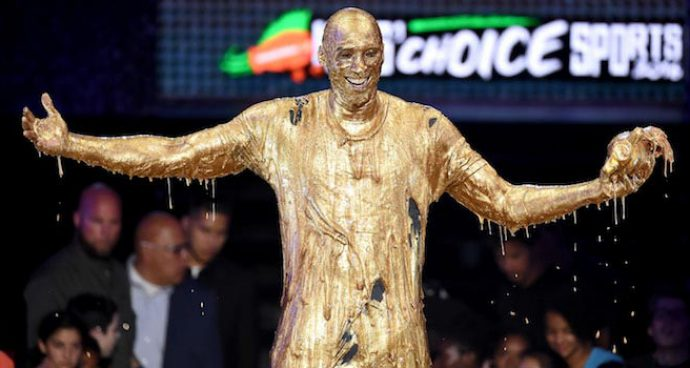 Kobe Bryant Gets Drenched In Gold Slime At Kids' Choice Sports Awards