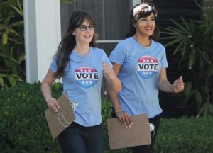 Zooey Deschanel And Hannah Simone Sport 'Vote' T-Shirts On 'New Girl' Set