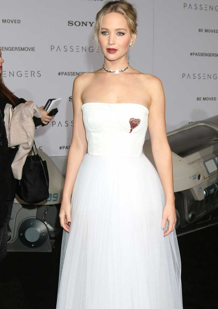 Jennifer Lawrence Wears White Dior Gown To Passengers