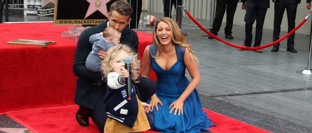 Ryan Reynolds Gets Star On Hollywood Walk Of Fame; Blake Lively Watches As Children Go Wild
