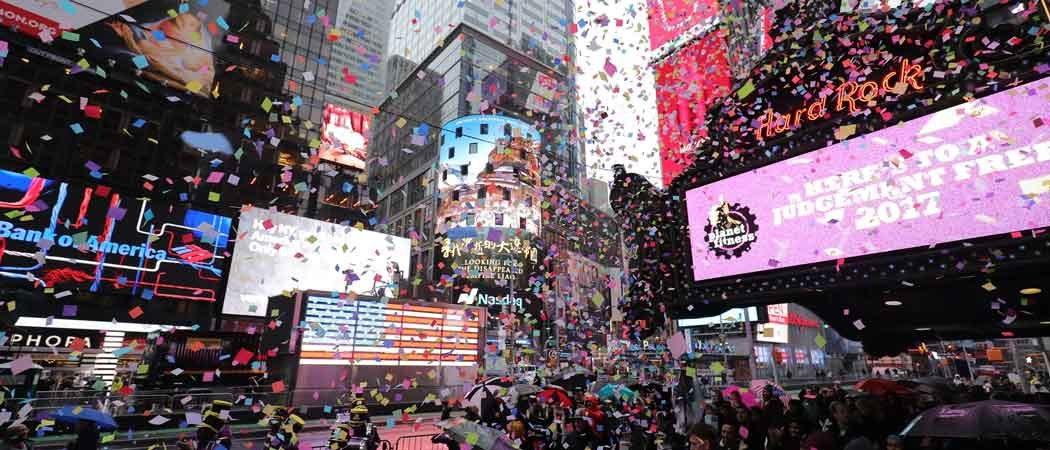 Times Square Performs New Year's Confetti Test In The Rain
