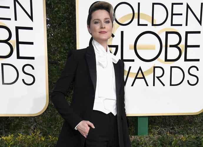 Evan Rachel Wood Wears Custom Tuxedo To Golden Globes