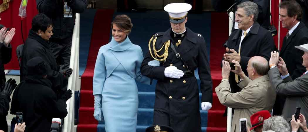 Melania Trump Channels Jackie Kennedy In Powder Blue Ralph Lauren Dress For Inauguration Day