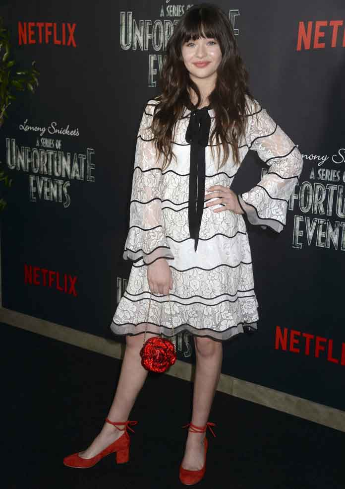 Malina Weissman Cozy In Lace At 'Series Of Unfortunate Events' Screening