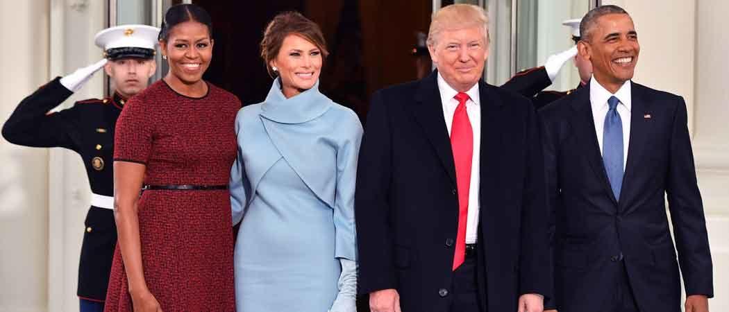 Michelle & Barack Obama Pose With Melania & Donald Trump Before Inauguration