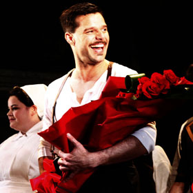 Ricky Martin Accepts Bouquet Of Roses At Opening Night Of 'Evita' Revival