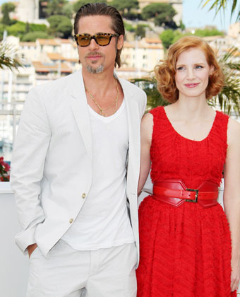 Jessica Chastain And Brad Pitt At Cannes Film Festiival