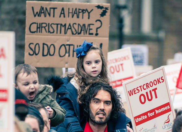 Russell Brand Protests New Era Estate Evictions