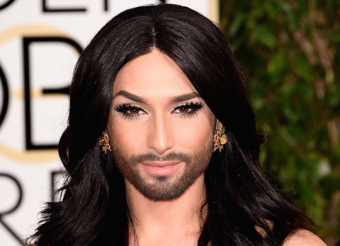 Conchita Wurst Rocks Beard On Golden Globes Red Carpet