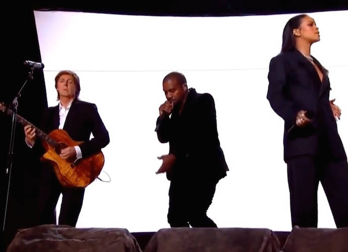 """Rihanna, Paul McCartney And Kanye West """"FourFiveSeconds"""" Debut Performance At The GRAMMYs"""