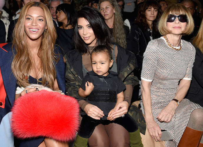 Beyonce, Kim Kardashian, North West & Anna Wintour Sit Front Row At Kanye West's NYFW Show