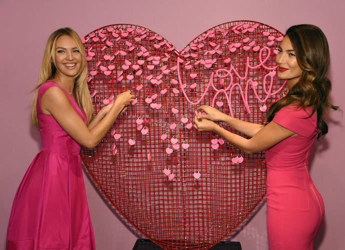Candice Swanepoel And Lily Aldridge Celebrate Valentine's Day With Victoria's Secret