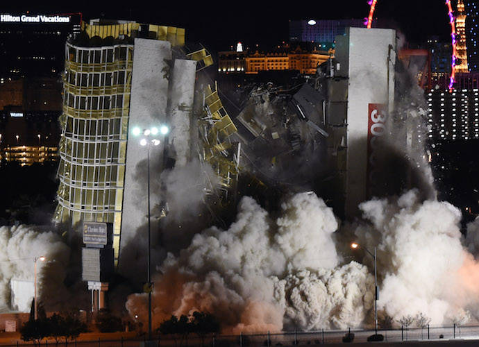 Las Vegas Hotel & Casino Imploded; First Sin City Hotel Implosion In Nearly A Decade