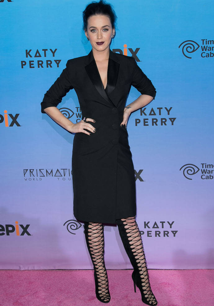Katy Perry Rocked A Tuxedo-Inspired Dress At 'The Prismatic World Tour' Premiere