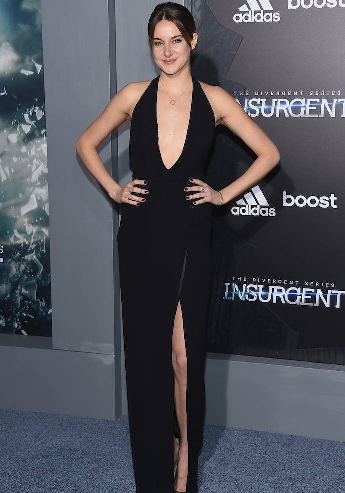 Shailene Woodley Stunned In Plunging Black Dress At 'Insurgent' Premiere