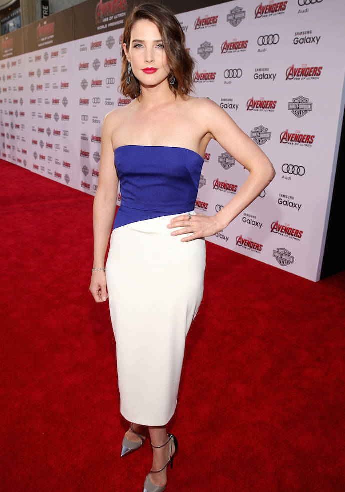 Cobie Smulders Rocks Color Block Dress To 'Avengers: Age Of Ultron' Premiere
