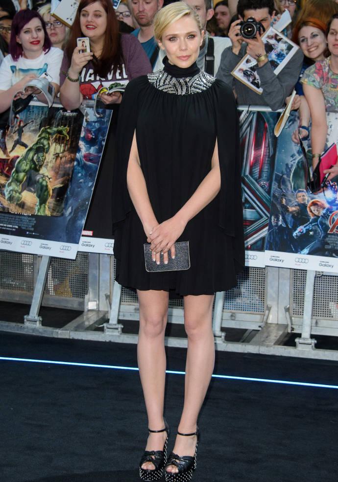 Get The Look: Elizabeth Olsen's Sleek Cape Dress