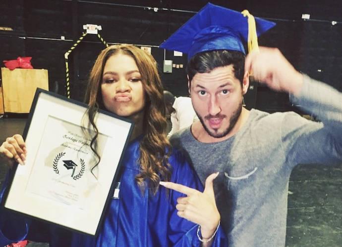 Zendaya Celebrates Her High School Graduation With Val Chmerkovskiy