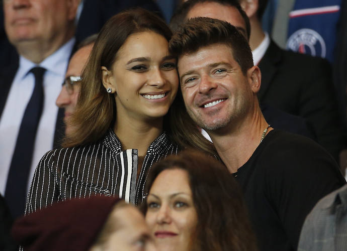 Robin Thicke And Girlfriend April Love Geary Watch Soccer Game In France