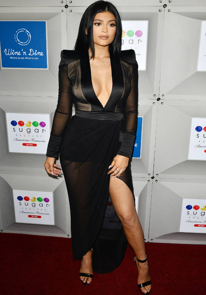 Get The Look: Kylie Jenner's Plunging Sheer Dress For Sugar Factory Opening