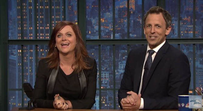 Amy Poehler And Seth Meyers Reunite For 'Really!?' Skit On 'Late Night With Seth Meyers'