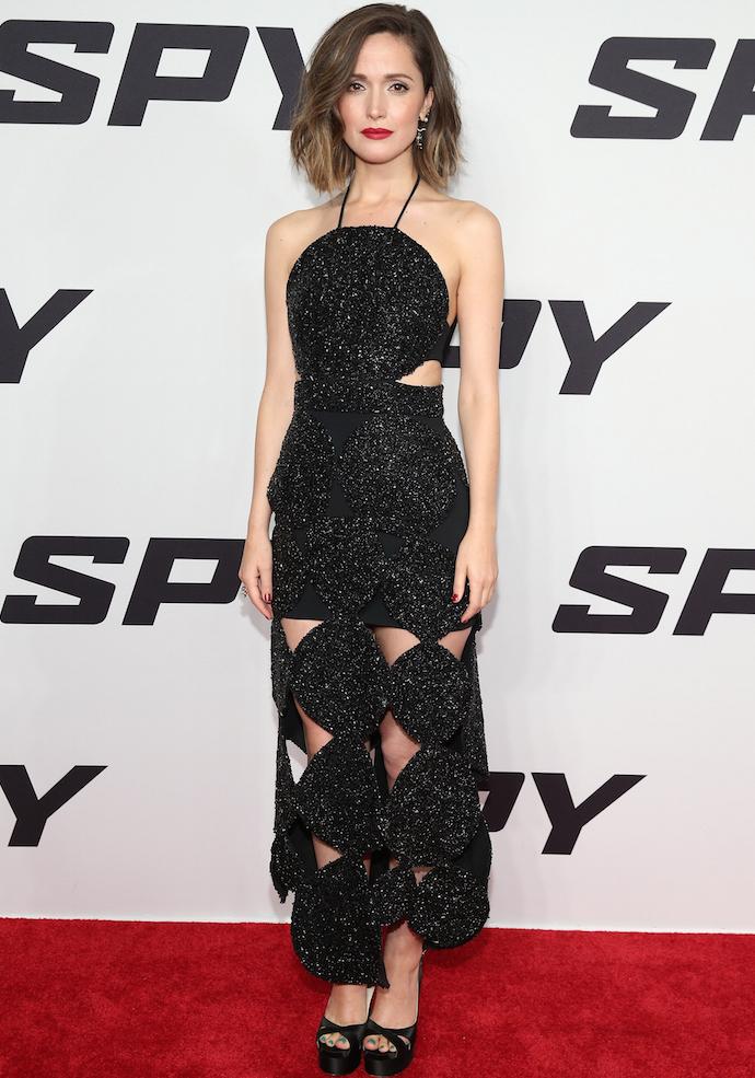 Rose Byrne Attends 'Spy' Premiere In Black Beaded Number