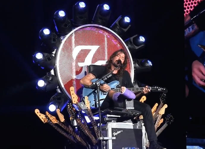 Dave Grohl Performs On Epic 'Game Of Thrones'-Style Throne With Broken Leg