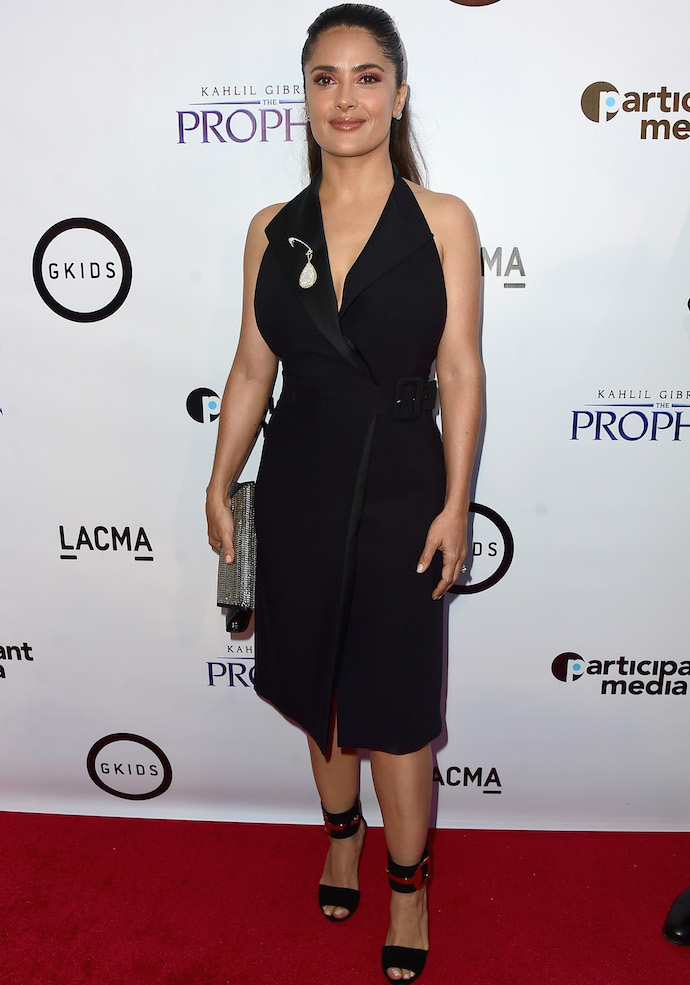 Salma Hayek Rocks All-Black Look To 'The Prophet' Premiere, Refuses To Say Donald Trump's Name