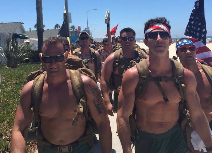 Shirtless Marines March To Raise Awareness Of Suicide In Military