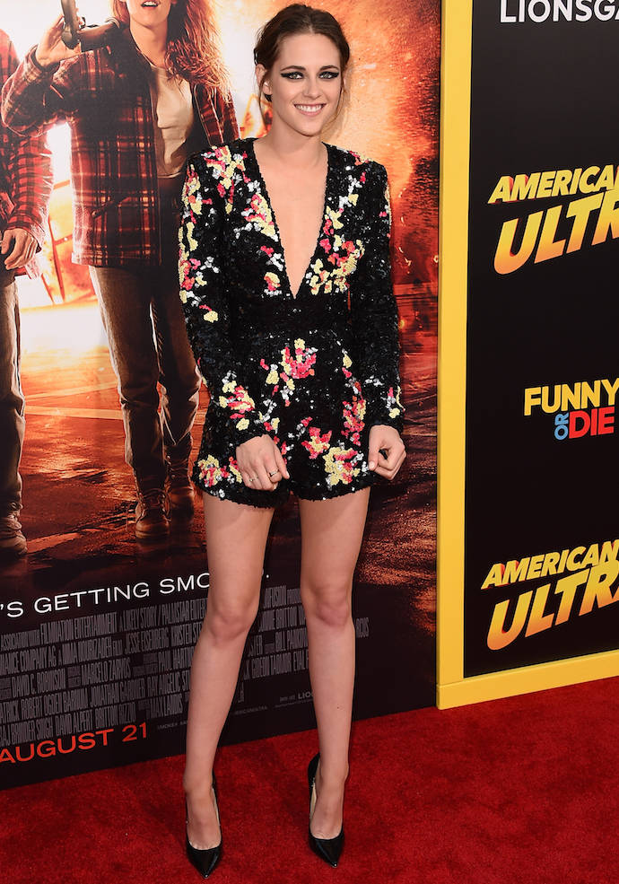 Kristen Stewart Wows In Floral Jumpsuit At 'American Ultra' Premiere