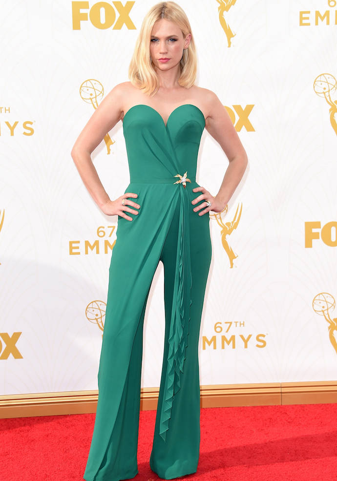 LOS ANGELES, CA - SEPTEMBER 20:  Actress January Jones attends the 67th Annual Primetime Emmy Awards at Microsoft Theater on September 20, 2015 in Los Angeles, California.  (Photo by Jason Merritt/Getty Images)