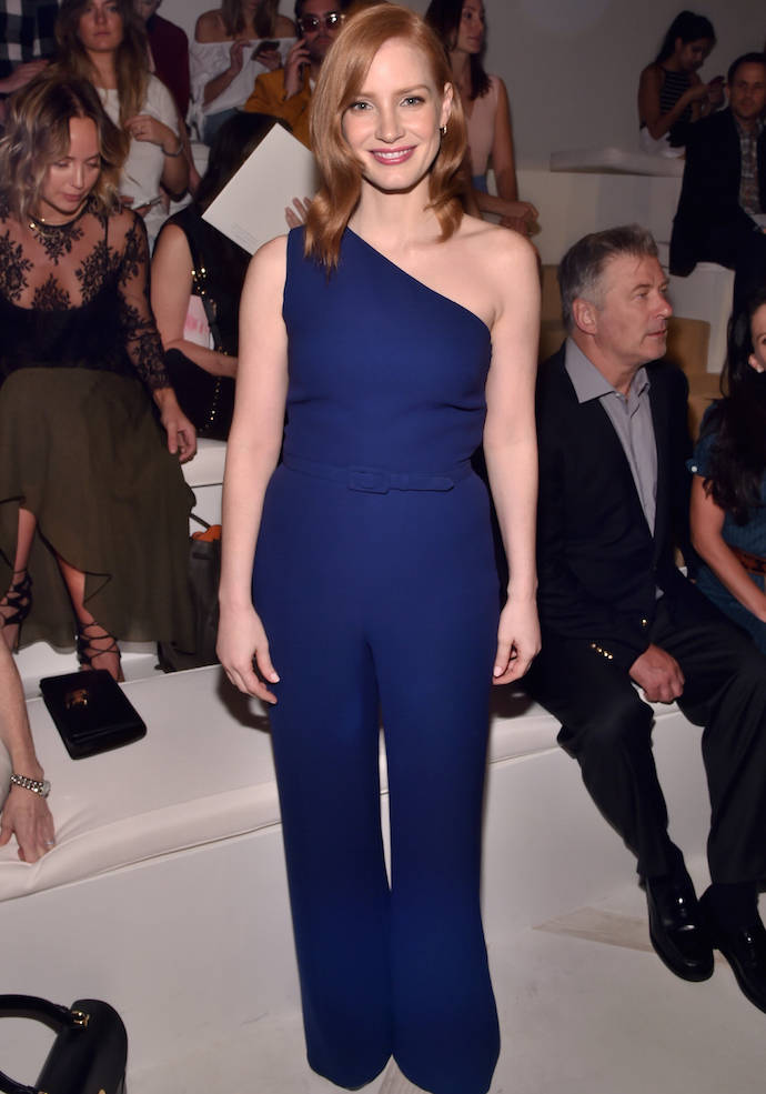 Jessica Chastain Poses In Ralph Lauren At NYFW Show