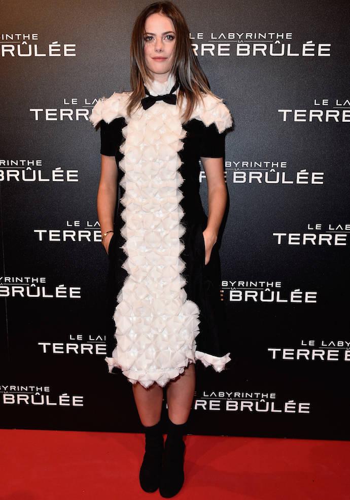 Kaya Scodelario Wears Ruffled Number To 'Maze Runner: The Scorch Trials' Paris Premiere