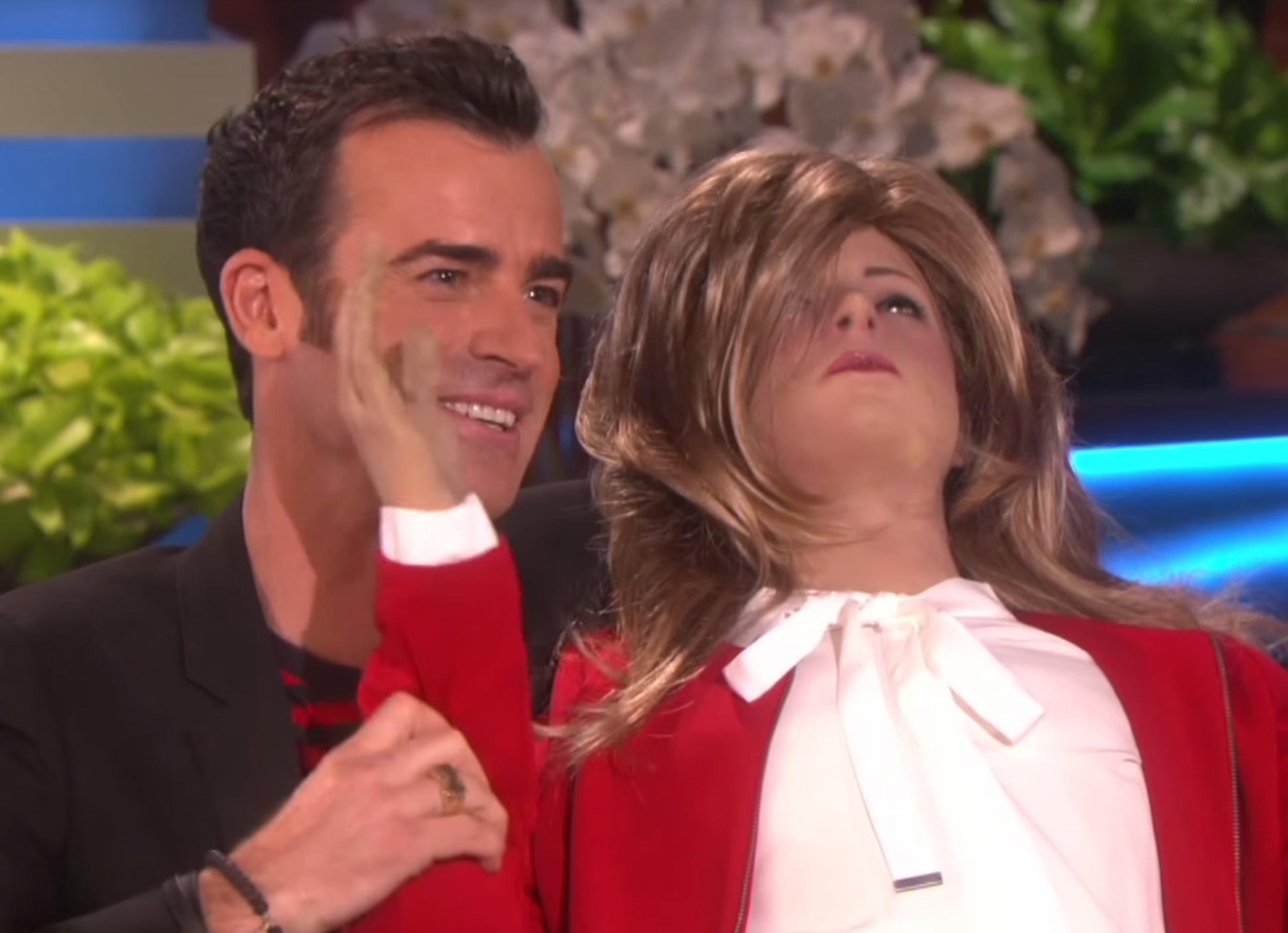Justin Theroux Receives Life-sized Jennifer Aniston Doll From Ellen DeGeneres