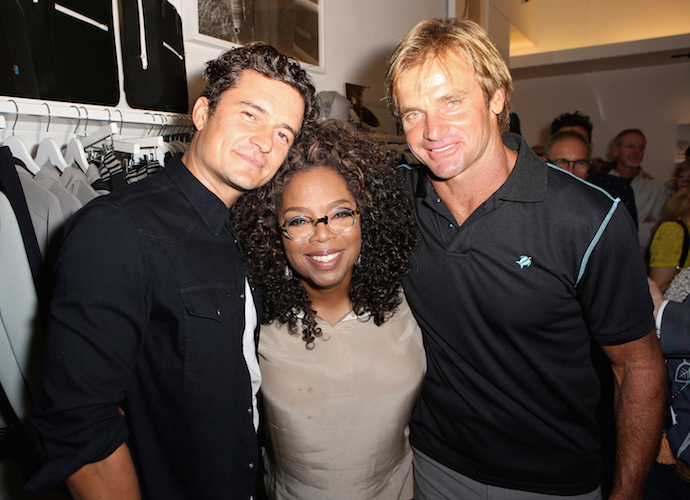 Orlando Bloom And Oprah Winfrey Support Laid Hamilton At Laird Apparel Launch