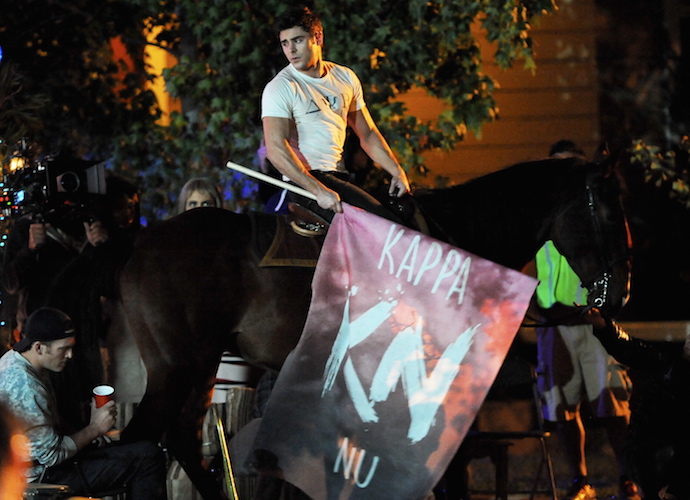 Zac Efron Films Scene On A Horse For 'Neighbors 2'